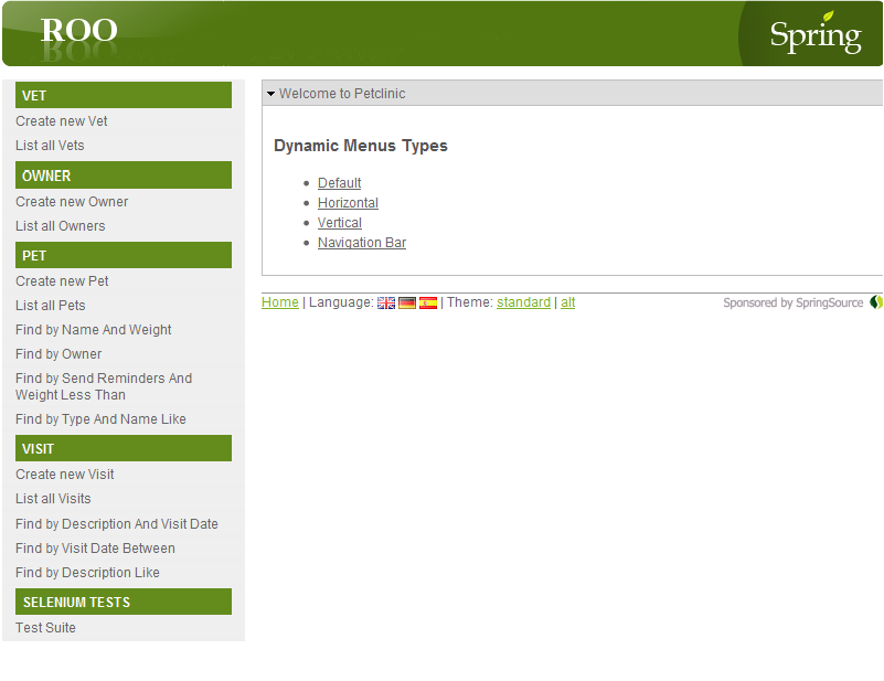 Spring Roo: Dynamic Menus for Web MVC | Journey into Web