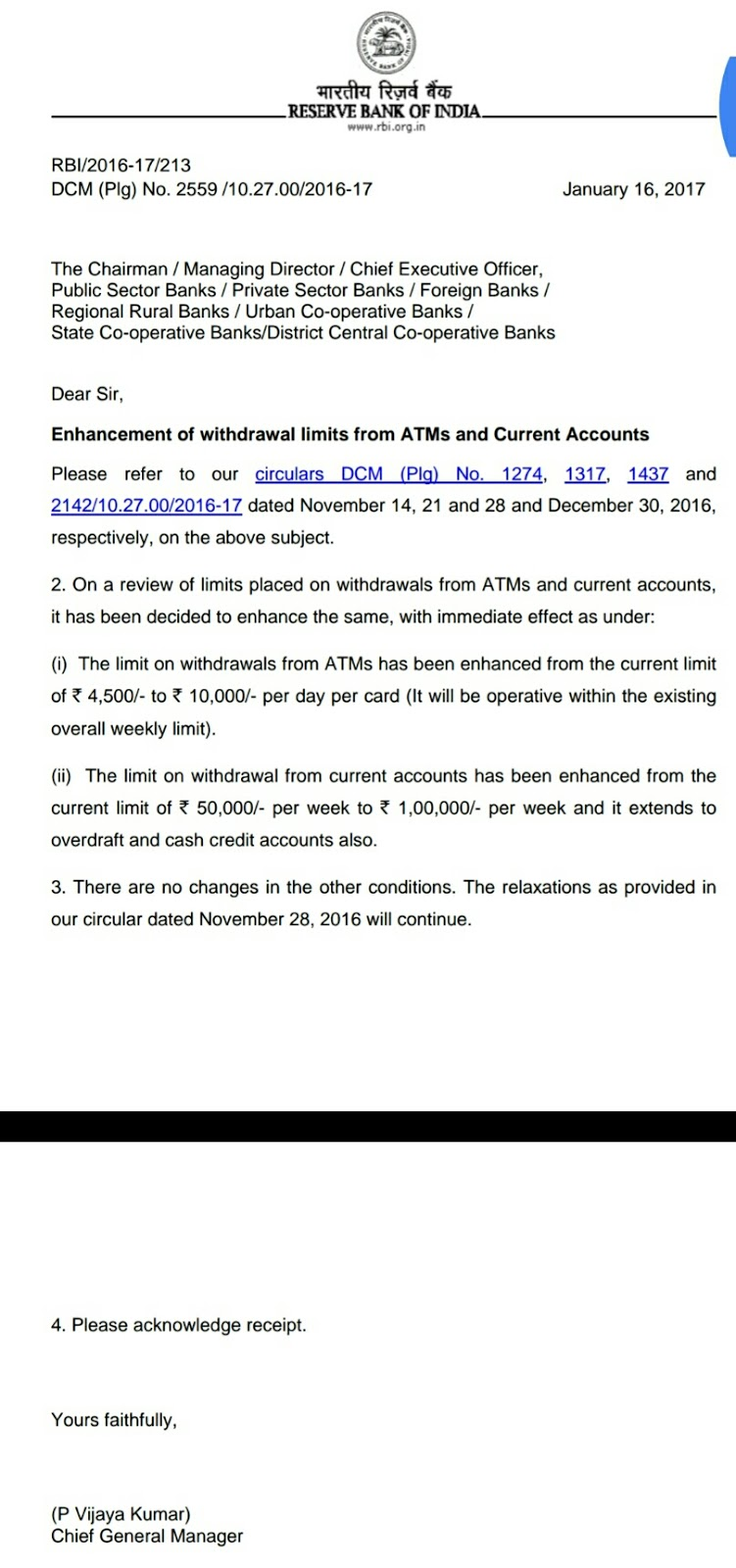 RBI has Increased withdrawal limits from ATMs and and for Current Accounts from 16th Jan 2017