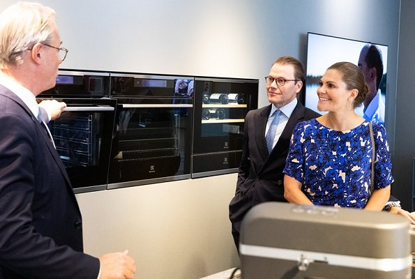 Crown Princess Victoria wore a blue print midi dress from Rodebjer. Electrolux Company which celebrates 100th anniversary of its establishment