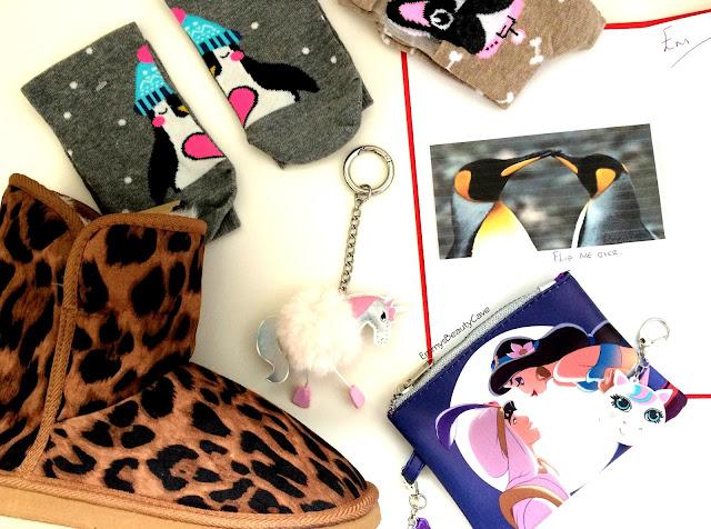River Island Slippers, Penguin socks, Unicorn Key Ring, Unicorn USB Stick