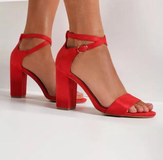 Sandale de zi cu toc gros moderne rosii piele intoarsa eco la moda