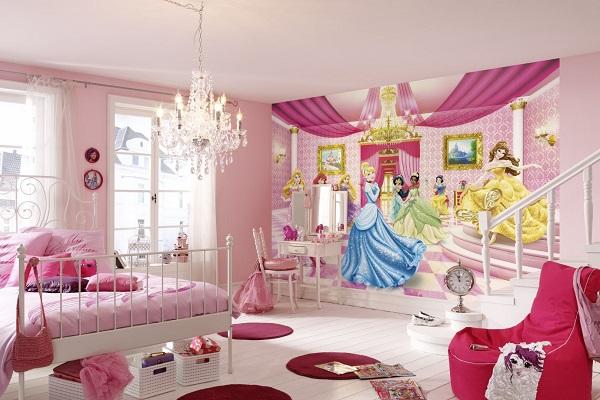 barntapet prinsessor tjejtapet disney tapet barnrum