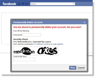 Confirm Facebook account deletion