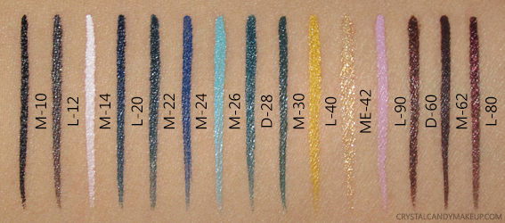 Make Up For Ever Aqua XL Ink Liners Swatches