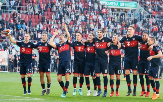 Bayern Munich celebrating their sixth Bundesliga title in a row