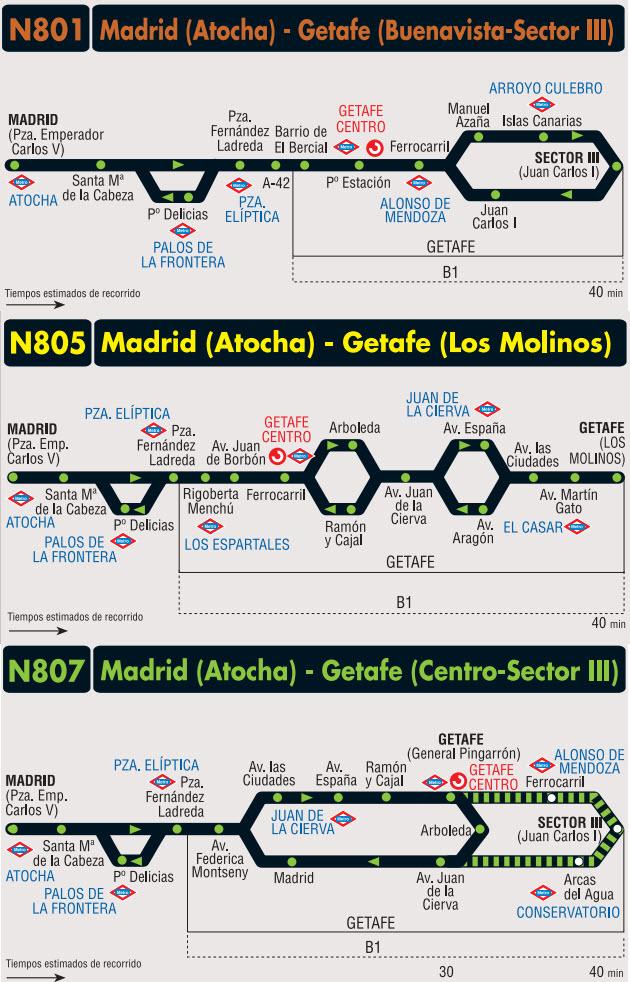 Nueva red de autobuses nocturnos de Getafe: N801, N805 y N807
