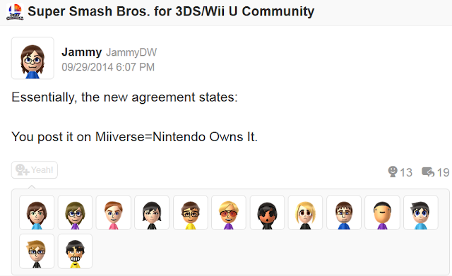 Jammy Miiverse Nintendo Network Services Agreement JammyDW