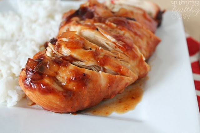 easy crock pot chicken made with cranberry sauce and bbq sauce