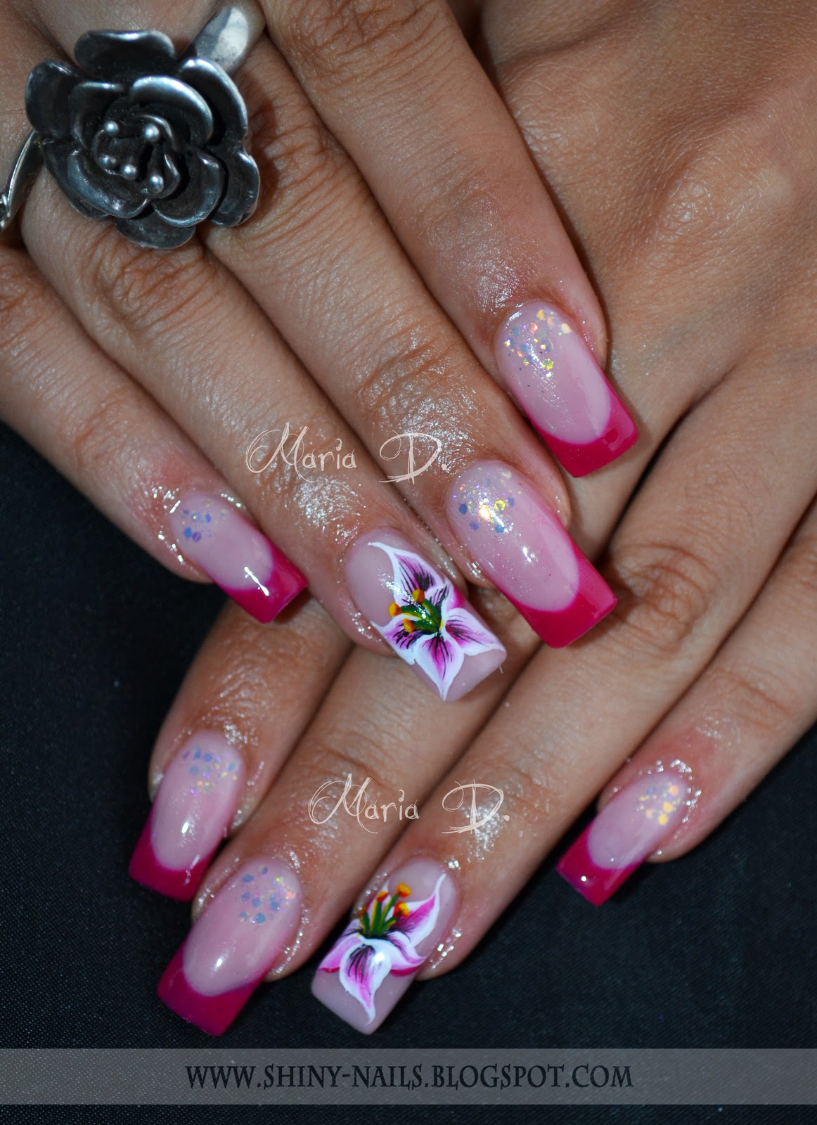 Shiny Nails By Maria D Lilies And White Dust
