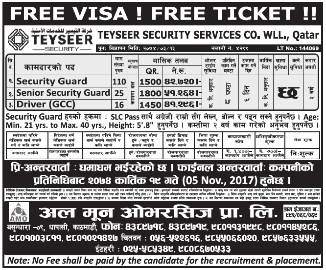 Free Visa Free Ticket Jobs in Qatar for Nepali, Salary Rs 51,264