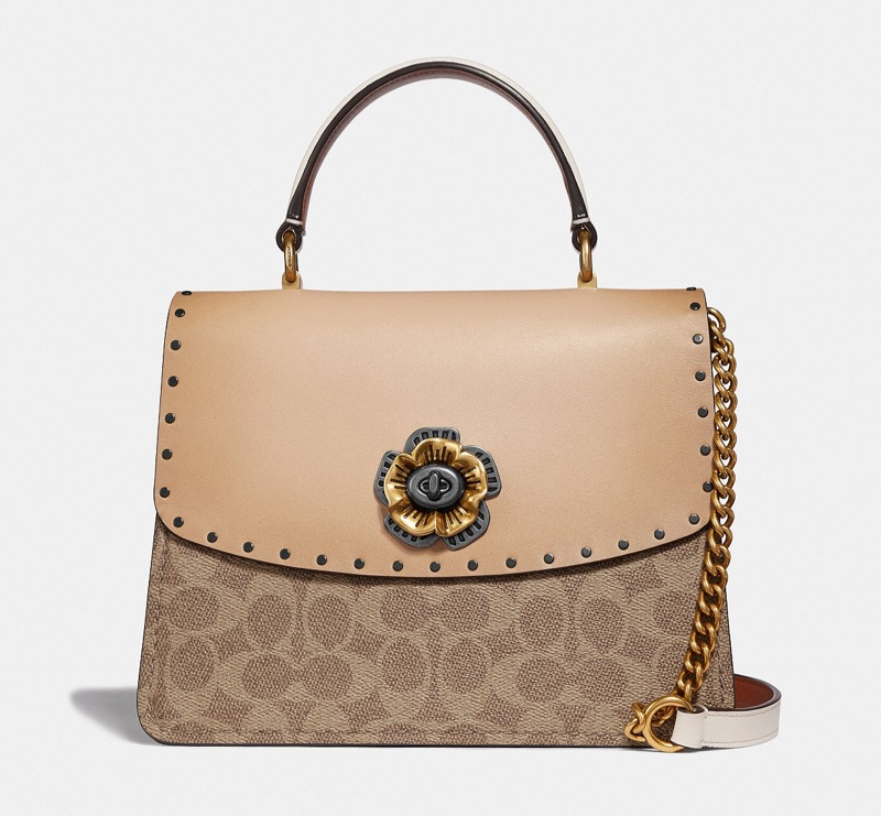 Coach Parker Top Handle Bag in Signature Canvas with Rivets