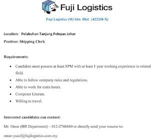 Fuji Logistics Kerja Kosong