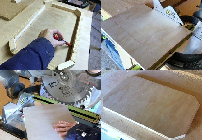 measure and cut bottom of long octagon tray