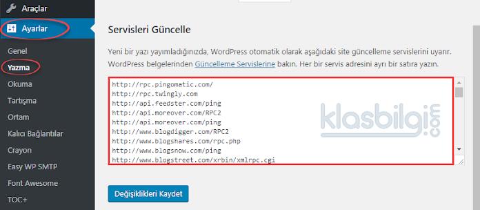 Wordpress Güncel Ping Servisleri Listesi