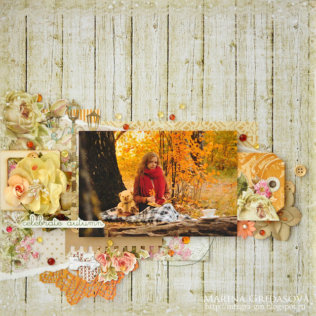celebrate autumn @akonitt #layout #by_marina_gridasova #autumnlayout #lemoncraft #chipboard #petaloo #sizzix #flowers #prima #primaflowers #fussycutting
