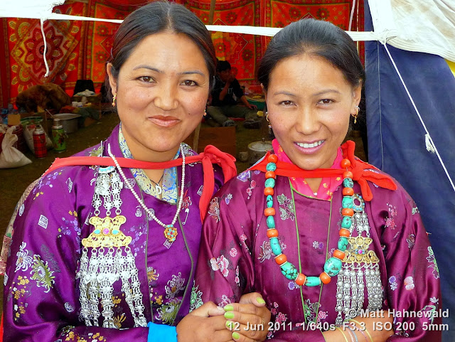 people, portrait, double portrait, street portrait, Northern India, Ladakh, Ladakhi women, traditional costume, silk costume, Facing the World, © Matt Hahnewald