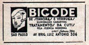 Propaganda de clínica de estética dos anos 20, com promessa de eliminação de bigode e verrugas nas mulheres.