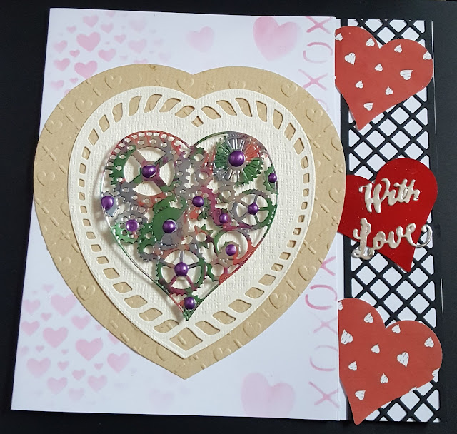 With Love Steampunk heart meets traditional hearts square card