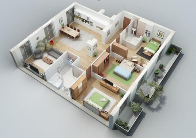 Gambar Denah 3D Desain Rumah Minimalis Tipe 54