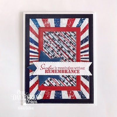 Our Daily Bread Designs Stamp Set: Remembrance,  Custom Dies: Rectangles, Pierced Rectangles, Sparkling Stars, Double Stitched Pennant Flags, Paper Collection: Stars and Stripes