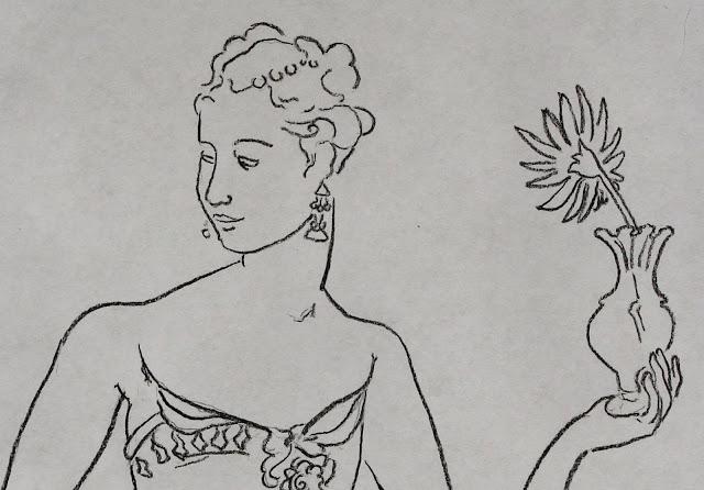 lady, vase, flower, crystal, sarah, myers, line, drawing, art, arte, dessin, dibujo, kunst, minimal, minimalism, minimalist, charcoal, simple, contemporary, modern, glass, fashion, sketch, human, woman, dress, flor, design, detail, close-up, face, hand, earrings