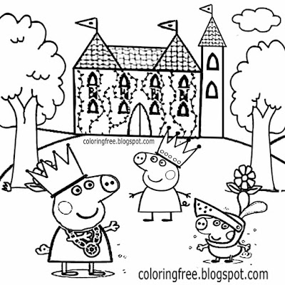 Art easy coloring magic castle medieval knight and King Peppa Pig drawing ideas for kids to printout