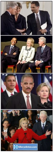 Bill Clinton, Eric Holder, Obama, Hillary Clinton