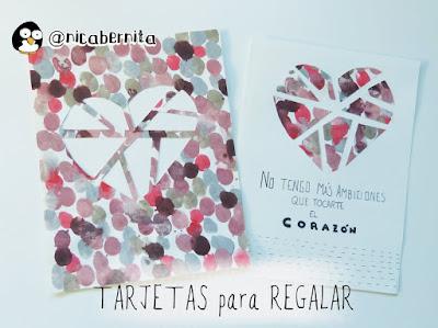 Tarjeta para regalar en San Valentín con figura de corazón. Nica Bernita