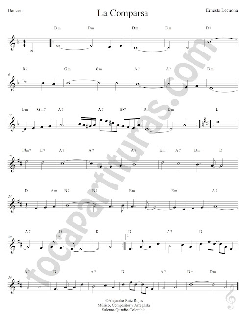 La Comparsa Danzón de Ernesto Lecuona Partitura Fácil con Acordes La Comparsa Easy Sheet Music with Chords