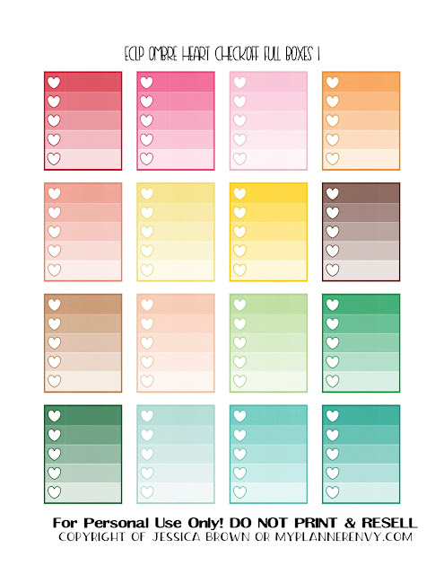 Free Printable Ombre Heart Checkoff Full Boxes 1 of 3 for the ECLP/RECS Planners from myplannerenvy.com