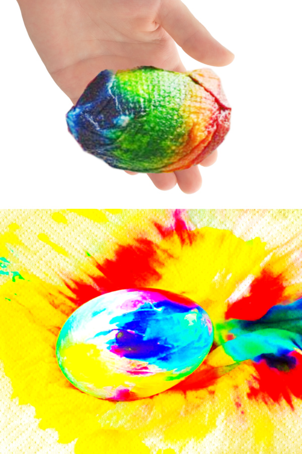aba345220e5a Tie-dye Easter eggs using food coloring and paper towels! This decorating  idea is