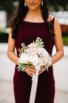 maroon bridesmaid dresses and ribbon bouquet