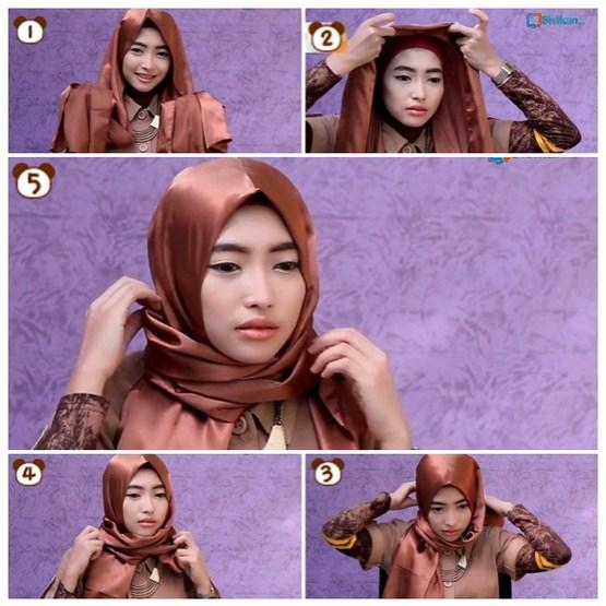 Cara Mudah Memakai Jilbab Modern Pashmina Bahan Satin