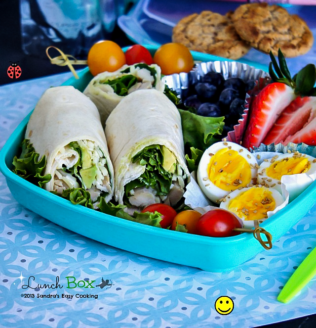 Delclious homemade bento Lunch Box for school, work or picnic: Ranch dressing Rotisserie chicken with Avocado Wraps