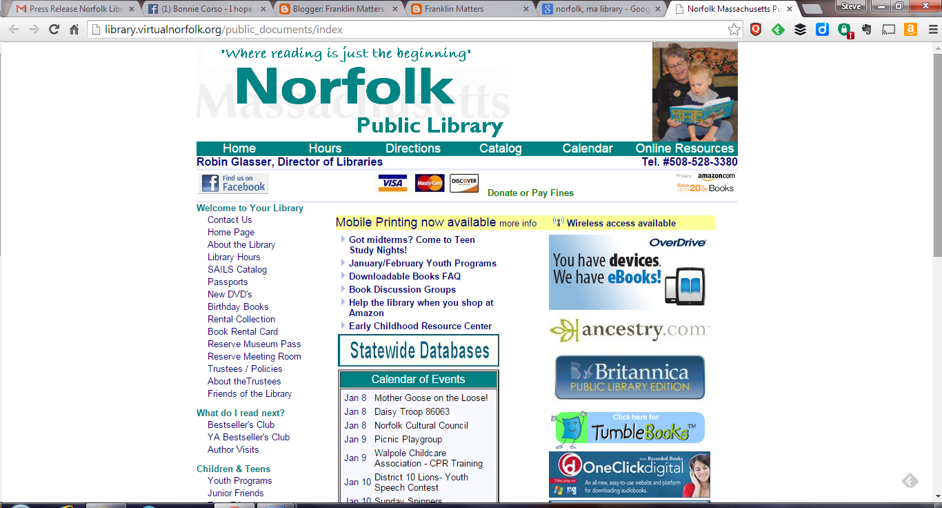 screen grab of Norfolk Library home page