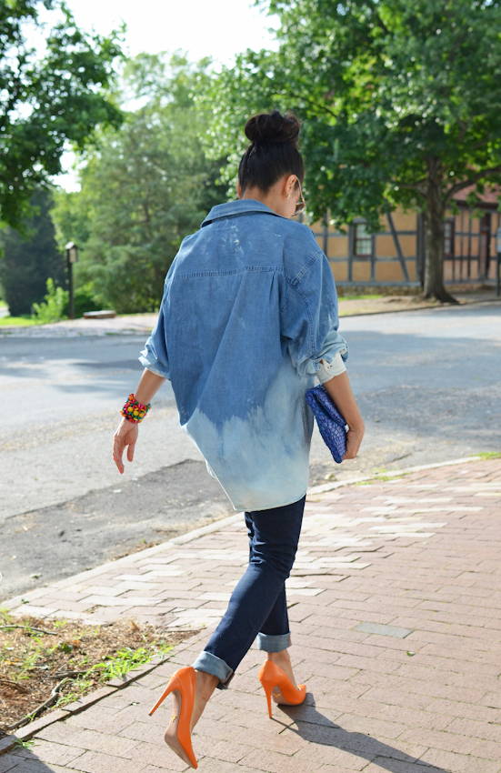 DENIM BLEACHED SHIRT