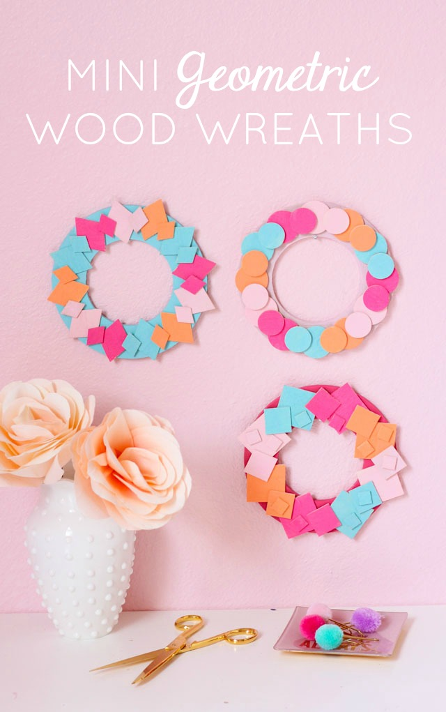 Use mini wood shapes to make these colorful geometric wreaths!