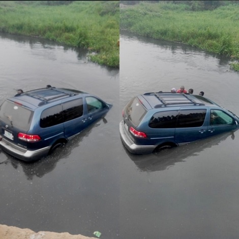 Tragedy as Vehicle Carrying a Woman and Her Kids Plunges Into a Lagoon in Lagos Suburb (photos)