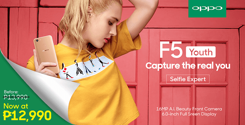 Sale Alert: OPPO F5 Youth with 16MP selfie A.I. camera is down to PHP 12,990!