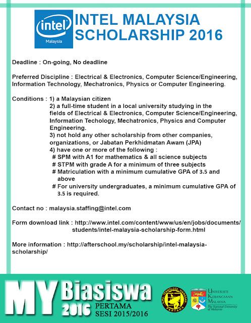 #MyBiasiswa2016 : Intel Malaysia Scholarship 2016 [DEADLINE : NO DEADLINE]