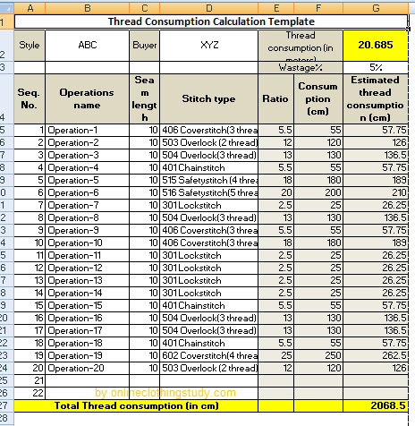 Sewing Thread Consumption Calculation Template Download