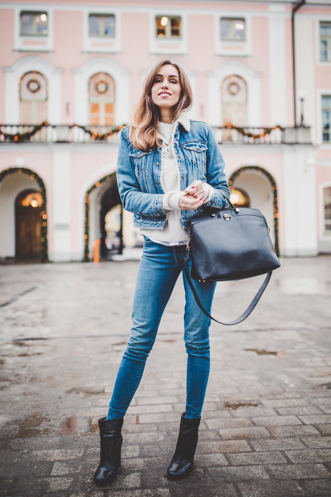 double denim winter outfit denim jacket sweater jeans