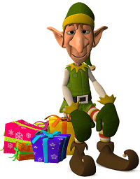 Santa's Elf Sitting on Presents