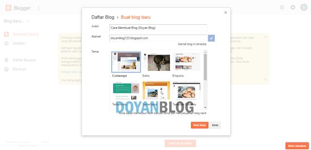 kesembilan buat judul alamat dan pilih tema blog