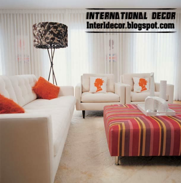 ottoman and banquette, striped red banquette for modern living room