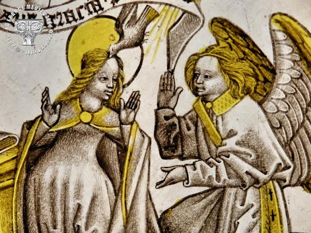 DIJON (21) - Musée des Beaux Arts : Vitrail - L'Annonciation - XVe siècle