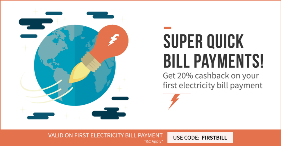 Freecharge 20% cashback on bill Payment of Rs.500 or more