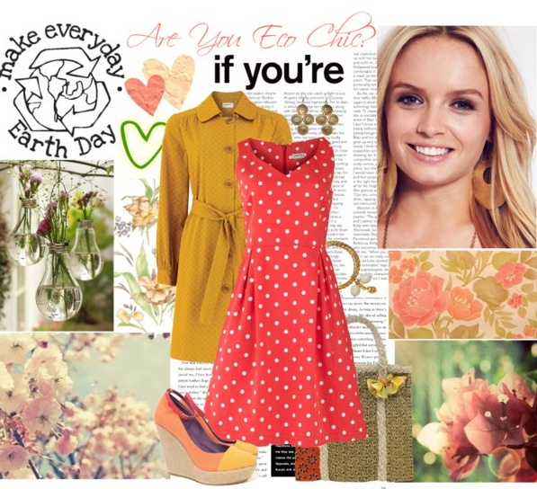 eco chic yellow and coral polka dot dress outfit