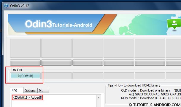 ID:COM : mobile détecté par Odin3