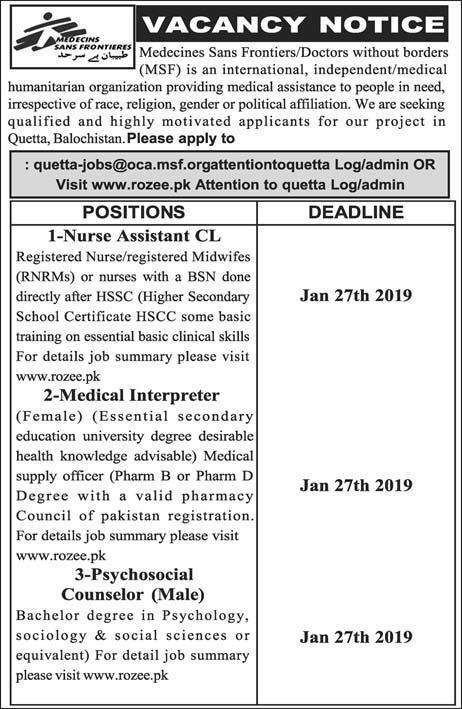 Jobs Vacancies In Medecins Sans Frontiers 23 January 2019